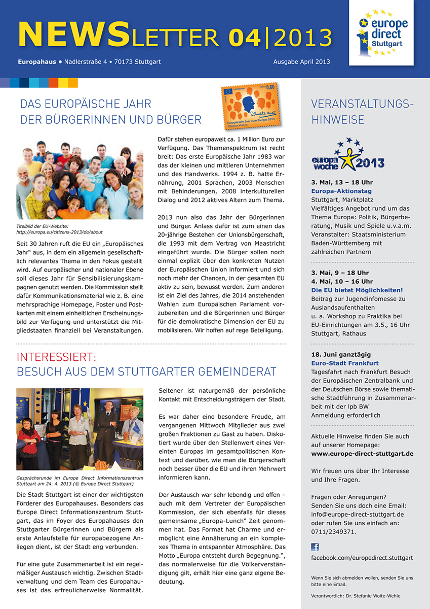 Newsletter Europe Direct Stuttgart